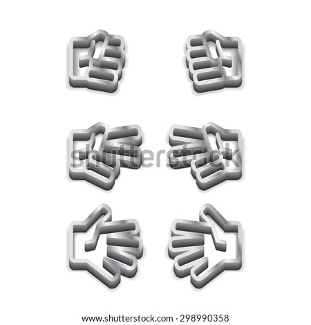 Rock-paper-scissors metallic black and white icon on white background with shadow - stock vector