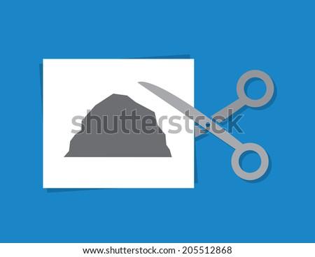 Rock Paper Scissors. Scissors cutting piece of paper with rock   - stock vector