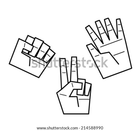 Rock, paper, scissors, vector illustration - stock vector