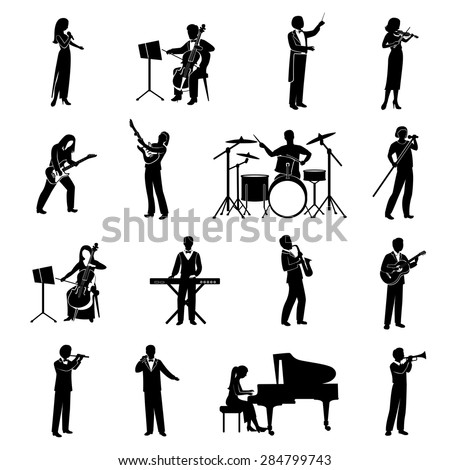 Rock pop and classical musicians icons black silhouettes set isolated vector illustration