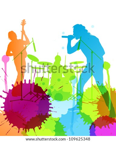 Rock pop band  colorful spots and splash vector background - stock vector