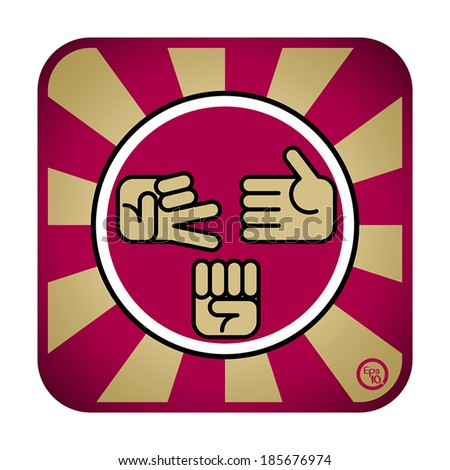 Rock scissors and paper about play game by hand, icon design vector - stock vector
