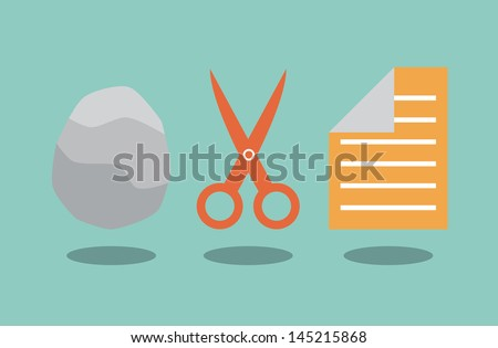 Rock scissors and paper. Solution concept. - stock vector