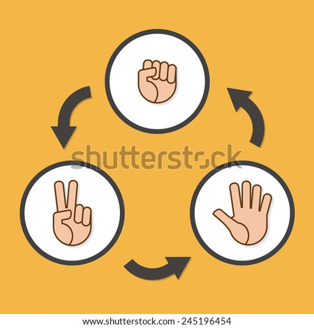 Rock, Scissors, Paper, Vector Buttons - stock vector