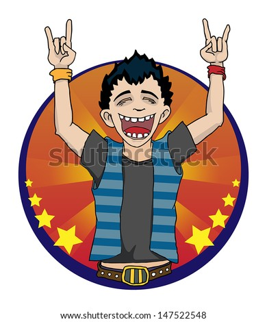 Rock sign with a boy doing devil horns and screaming, vector illustration - stock vector