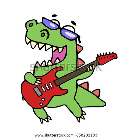 Cartoon Dinosaur Glasses Guitar