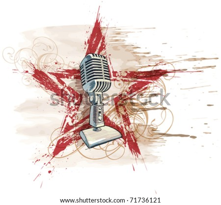 Rock star. Microphone, grunge watercolor star & floral ornament - stock vector