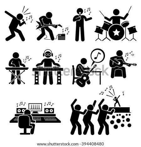Rock Star Musician Music Artist with Musical Instruments Stick Figure Pictogram Icons - stock vector