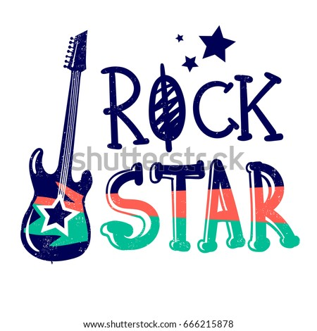 Little rock star typography vector stock vector 583598875 for T shirt printing nyc same day