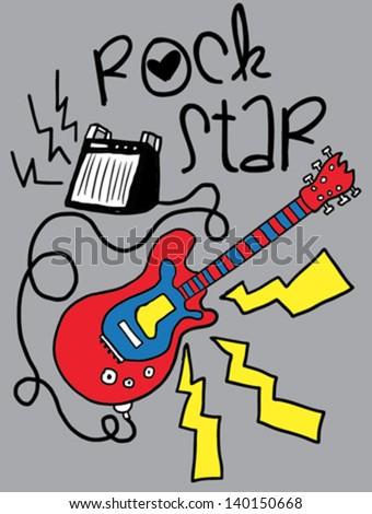 rock star/T-shirt graphics/cute cartoon characters/cute graphics for kids/Book illustrations/textile graphic/cartoon character design/fashion graphic/cute wallpaper - stock vector