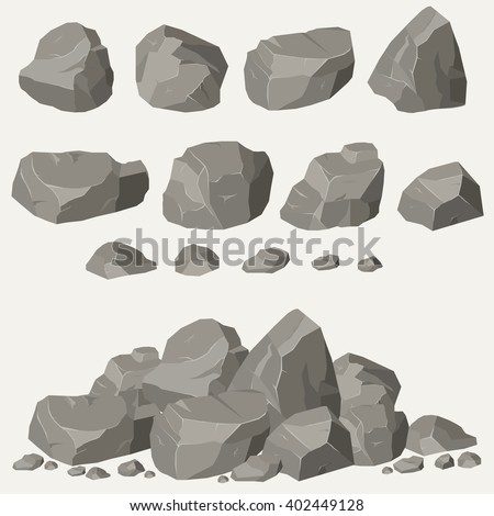 Rock stone cartoon in isometric 3d flat style. Set of different boulders - stock vector
