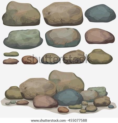 Rock stone set cartoon. Multicolored Stones and rocks in isometric 3d view. Set of different boulders