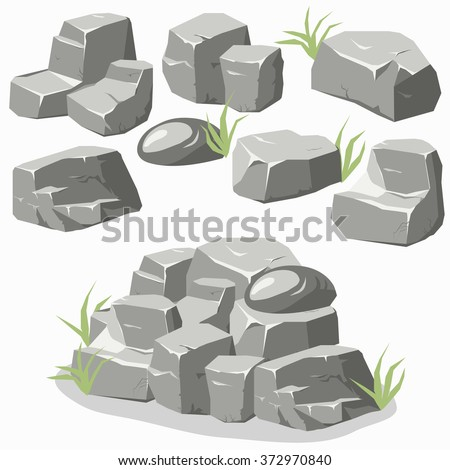 Rock stone with grass. Cartoon isometric 3d flat style. Set of different boulders