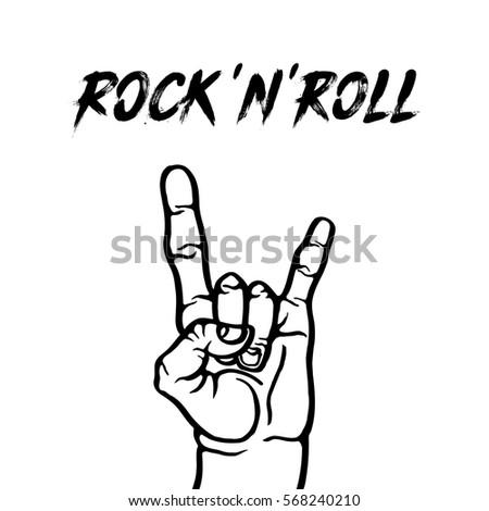 Rock Symbol Hand Sign Art Hand Stock Vector Royalty Free 568240210