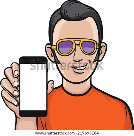 rockabilly fan showing a mobile app on a smart phone - stock vector