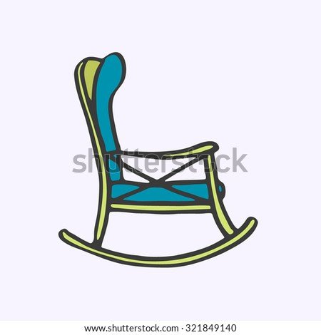 Rocker chair. Hand-drawn cartoon chair for rest. Doodle drawing. Vector illustration.