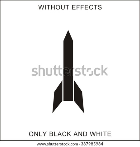 Rocket. Black silhouette on white