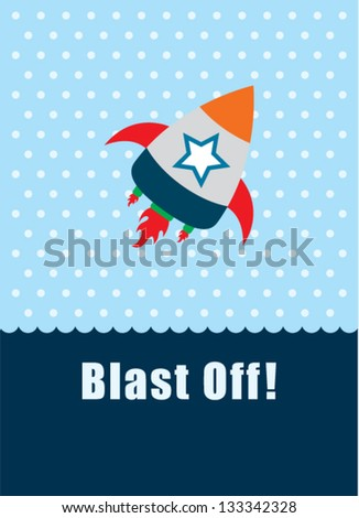 rocket blast off tag - stock vector