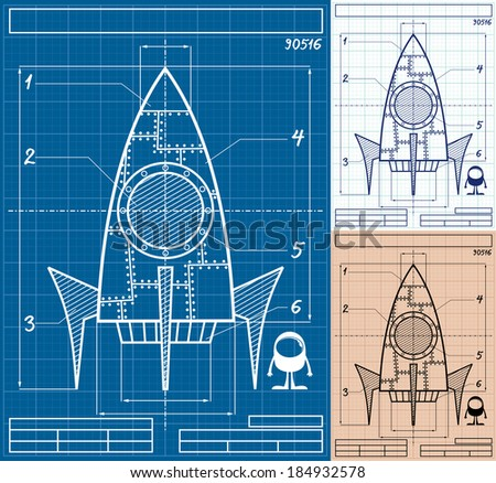 Rocket Blueprint Cartoon: Cartoon blueprint of rocket ship in 3 versions. No transparency and gradients used.   - stock vector
