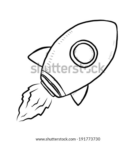 Cartoon rocket ship black and white