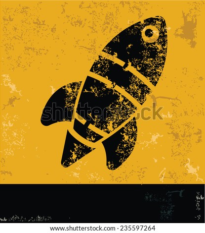 Rocket design on yellow background,yellow vector - stock vector