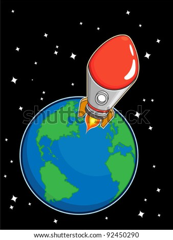 Rocket Fly from Earth - stock vector