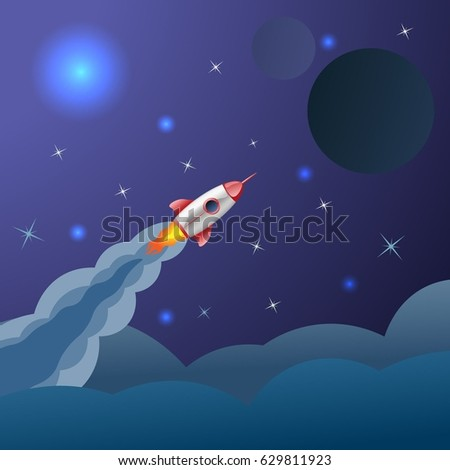 rocket flying in space on blue background