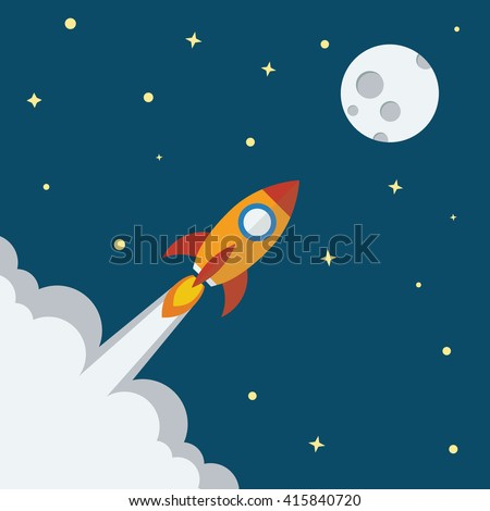 Rocket icon with Moon and space planet background flat design. Project start up - launch concept. Vector illustration.