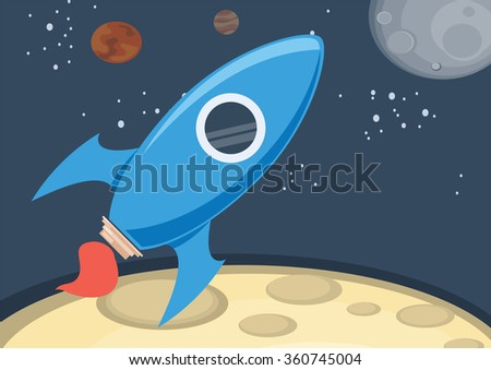 rocket in space - stock vector