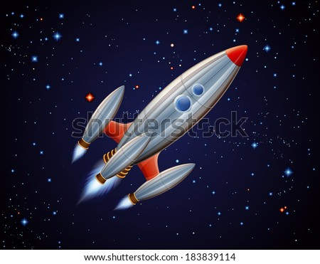 Rocket in space, EPS 10, contains transparency - stock vector