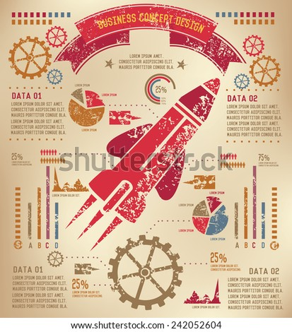 Rocket Info graphic design on old paper,grunge vector - stock vector