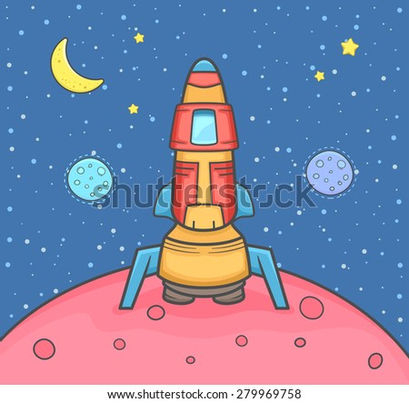 Rocket landing on the planet with background outer space. Vector Illustration. - stock vector