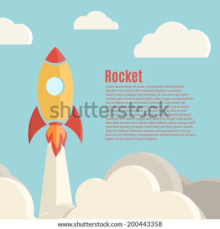 Rocket launch background. Vector illustration - stock vector