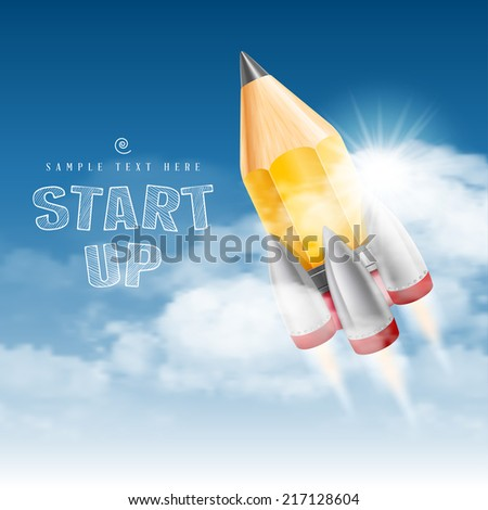 Rocket launch. Creative start up poster. Vector illustration. - stock vector