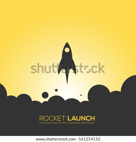 Rocket launch design icon backgrounds and logo.Yellow background. Vectors, illustrations design.