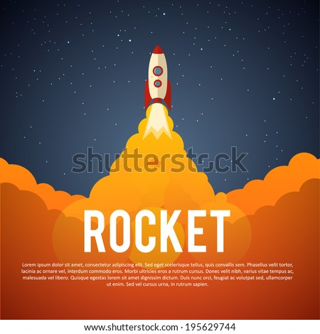 Rocket launch icon. Vector illustration eps 10 - stock vector