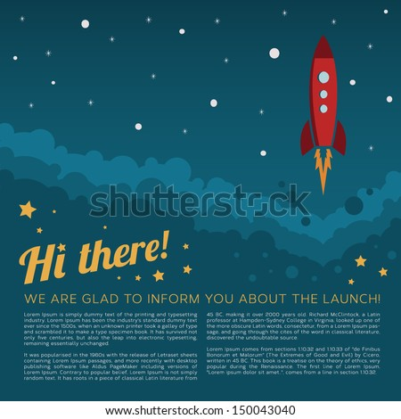 Rocket launch in space vector background - stock vector
