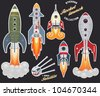 Rocket launch (stickers collection) - stock vector