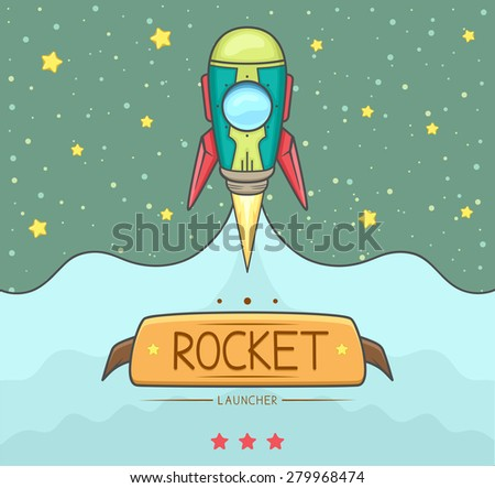 Rocket launch with smoke spreading out with background outer space and star. Vector Illustration.   - stock vector