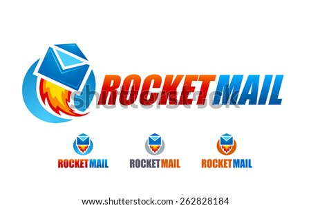 Rocket mail logo design template. Vector art. - stock vector