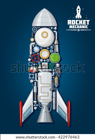 Rocket mechanics of spaceship with engine parts as nose cone, fins and access hatch, nozzle and portholes, combustion chamber and pumps, fuel tank and gears, gauges and valve handwheels