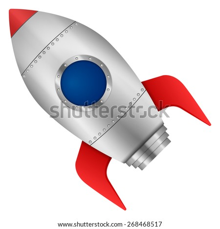 Rocket on a white background. Vector illustration.