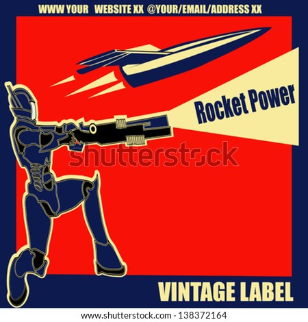 Rocket Power, Retro vector label with an armoured marine and a space ship - stock vector
