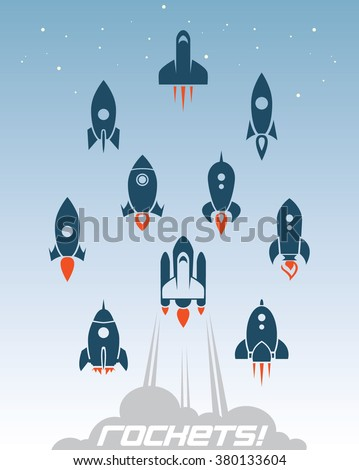 Rocket set - stock vector