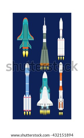 Rocket set vector and technology ship rocket cartoon design. Science future travel rocket and retro shuttle fly rocket. Speed galaxy fantasy rocket and futuristic spacecraft, astronaut modern element. - stock vector