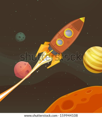 Rocket Ship Flying Through Space/ Illustration of a cartoon retro red spaceship blasting off and exploring space and planets - stock vector