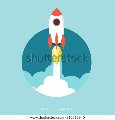 Rocket ship in a flat style.Vector illustration with 3d flying rocket.Space travel to the moon.Space rocket launch.Project start up and development process.Innovation product,creative idea.Management. - stock vector