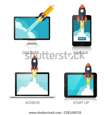 Rocket ship in a flat style.Vector illustration with 3d flying rocket.Space travel to the moon.Space rocket launch.Project start up and development process.Innovation product,creative idea.Smartphone - stock vector