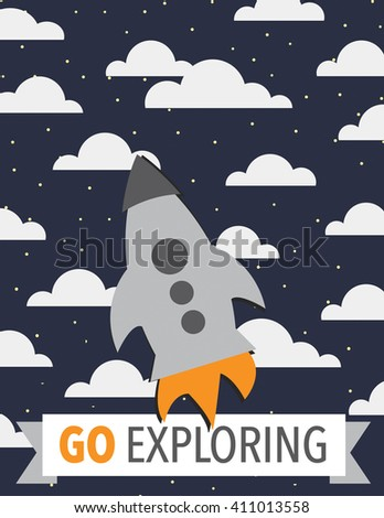 Rocket ship over dark blue sky with clouds and stars