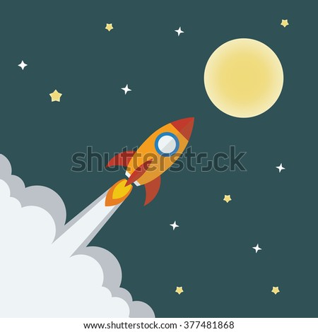 Rocket ship with midnight background. Project start up - launch. Vector illustration.